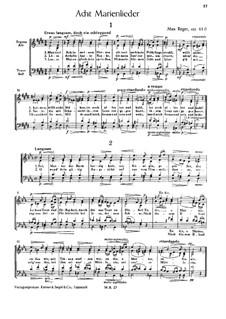 Acht Marienlieder, Op.61d: Acht Marienlieder by Max Reger
