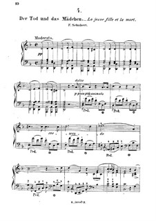 Tod und das Mädchen, D.531 Op.7 No.3: Bearbeitung für Klavier by Franz Schubert