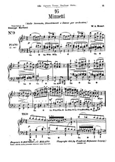 Sechzehn Menuette für Klavier: Menuette Nr.9-18 by Wolfgang Amadeus Mozart