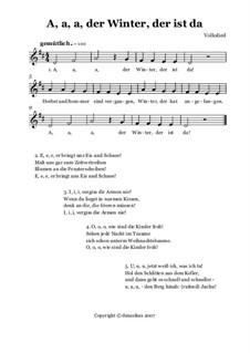 A, a, a, der Winter, der ist da: Für Singstimme by folklore