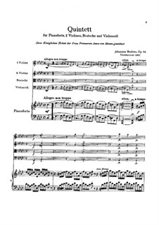 Klavierquintett in f-Moll, Op.34: Partitur by Johannes Brahms