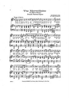 Marseilles Hymn: Für Stimme und Klavier by Rouget de Lisle