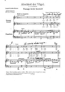 Abschied der Vögel, Op.14 No.1: In g-Moll by Eugen Hildach