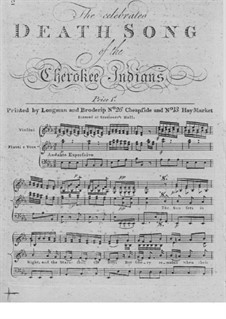 The Celebrated Death Song of the Cherokee Indians: For violin, flute, voice and basso continuo by John Hunter