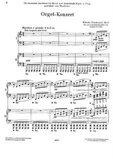 Konzert für Orgel und Orchester in d-Moll: Version für zwei Klaviere, vierhändig by Wilhelm Friedemann Bach