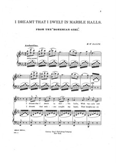Die Zigeunerin: Akt II, I Dreamt I Dwelt in Marble Halls, für Stimme und Klavier by Michael William Balfe