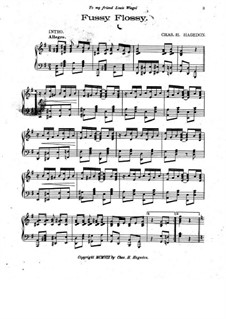 Fussy Flossy. Rag and Two-Step for Piano: Fussy Flossy. Rag and Two-Step for Piano by Chas. H. Hagedon