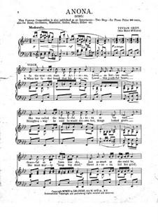 Anona: Für Stimme und Klavier by Vivian Grey