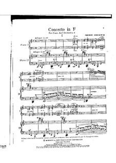 Konzert für Klavier und Orchester: Bearbeitung für zwei Klaviere, vierhändig by George Gershwin