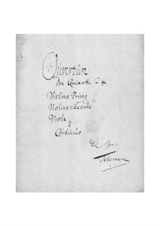 Burlesque de Quichotte. Suite in G Major for Strings and Basso Continuo, TWV 55:G10: Stimmen by Georg Philipp Telemann