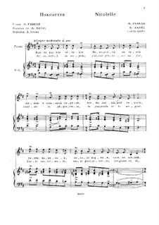 Drei Lieder, M.69: No.1 Nicolette by Maurice Ravel