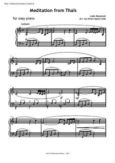Meditation: Für Klavier, leicht by Jules Massenet