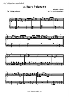 Polonäsen, Op.40: Nr.1. Klavierversion für Anfänger by Frédéric Chopin