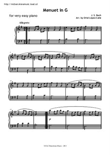 Nr.4 Menuett in G-Dur, für Klavier: Sehr leichte Fassung by Johann Sebastian Bach