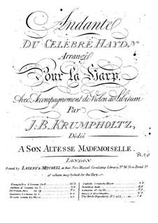 Andante on a Theme by Haydn: Transcription for harp and violin accompaniment by Johann Baptist Krumpholtz