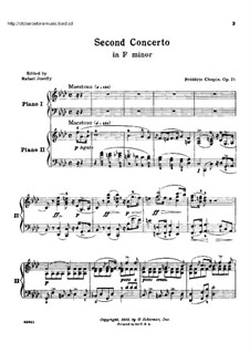 Vollständiger Konzert: Version für zwei Klaviere, vierhändig by Frédéric Chopin
