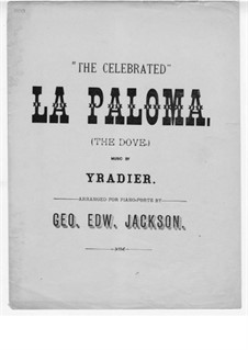 La Paloma (Die Taube): Version für Klavier by Sebastián Yradier