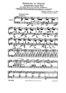 An der schönen blauen Donau, Op.314: Für Chor und Klavier by Johann Strauss (Sohn)