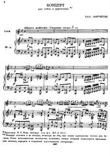 Konzert in C-Moll: Für Oboe und Klavier by Benedetto Marcello
