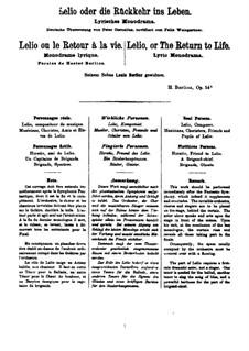 Lelio, oder die Rückkehr ins Leben, Op.14b: Klavierauszug mit Singstimmen by Hector Berlioz