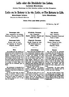 Lelio, oder die Rückkehr ins Leben, Op.14b: Nr.1-4, für Stimmen und Klavier by Hector Berlioz