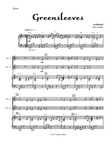 Greensleeves: For two recorders and piano by folklore