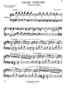 Vergessener Walzer, S.215: Walzer Nr.1 by Franz Liszt
