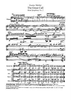 Sinfonie Nr.2 in c-Moll 'Resurrection': Teil V, für Stimmen und Klavier by Gustav Mahler