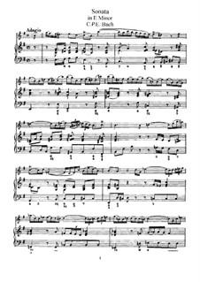 Sonate für Flöte und Cembalo in e-Moll, H 551 Wq 124: Partitur, Solostimme by Carl Philipp Emanuel Bach