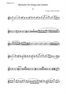 Quintett für Klarinette und Streicher in A-Dur, K.581: Teil III – Klarinettenstimme by Wolfgang Amadeus Mozart