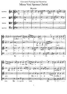 Missa Veni Sponsa Christi: Missa Veni Sponsa Christi by Giovanni da Palestrina