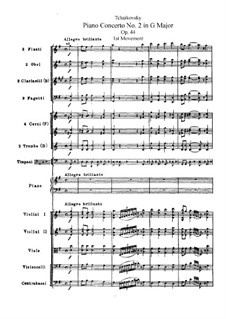 Konzert für Klavier und Orchester Nr.2 in G-Dur, TH 60 Op.44: Partitur by Pjotr Tschaikowski
