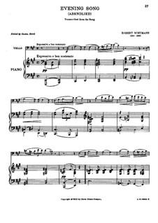 Zwölf Stücke für Klavier, vierhändig, Op.85: Nr.12 Abendlied, für Cello und Klavier by Robert Schumann