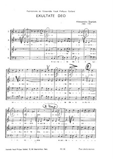 Exultate Deo: Singpartitur by Alessandro Scarlatti