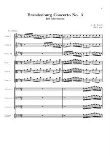 Brandenburgisches Konzert Nr.3 in G-Dur, BWV 1048: Teil III (Allegro) by Johann Sebastian Bach
