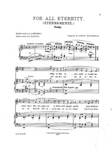 For All Eternity for Voice, Violin (ad libitum) and Piano: For All Eternity for Voice, Violin (ad libitum) and Piano by Angelo Mascheroni