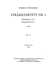 Streichquartett Nr.4 in a-Moll, Op.25: Vollpartitur by Wilhelm Stenhammar
