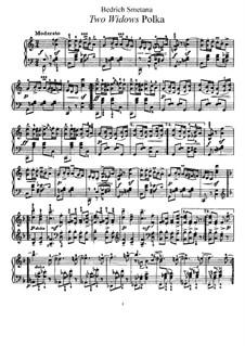 Zwei Witwen, T.109: Polka, für Klavier by Bedřich Smetana