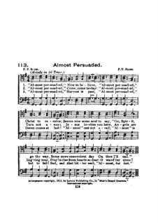 Almost Persuaded: Almost Persuaded by Philip Paul Bliss