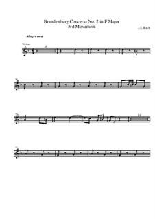Brandenburgisches Konzert Nr.2 in F-Dur, BWV 1047: Teil III – Violine Ripieno II Stimme by Johann Sebastian Bach