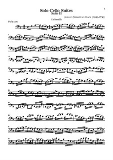 Suite für Cello Nr.1 in d-Moll, BWV 1008: Für einen Interpreten by Johann Sebastian Bach