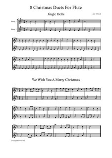 Eight Chrismas Duos or Trios: Duos for two flutes by Felix Mendelssohn-Bartholdy, Franz Xaver Gruber, Lewis Henry Redner, James Lord Pierpont, Unknown (works before 1850)