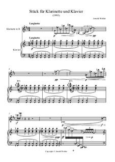Stück für Klarinette und Klavier: Stück für Klarinette und Klavier by Dr. Arnold Wohler