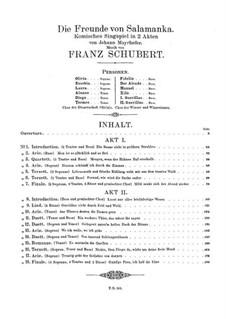 Die Freunde von Salamanka, D.326: Akt I by Franz Schubert