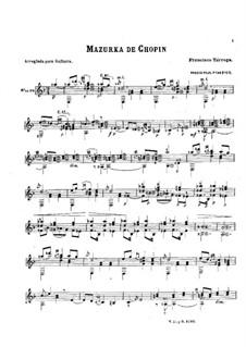 Mazurkas, Op.33: Nr.4, für Gitarre by Frédéric Chopin