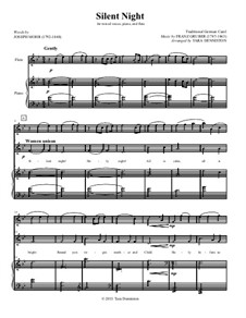 Stille Nacht (Noten zum Download): For flute, mixed choir and piano – conductor's score by Franz Xaver Gruber