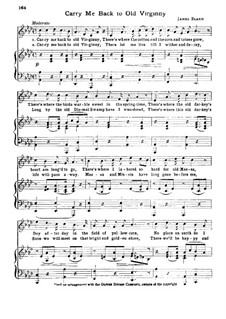 Carry Me Back to Old Virginny: Klavierauszug mit Singstimmen by James A. Bland