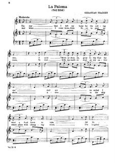 La Paloma (Die Taube): Klavierauszug mit Singstimmen by Sebastián Yradier