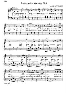 Listen to the Mocking Bird: Klavierauszug mit Singstimmen (G-Dur) by Septimus Winner