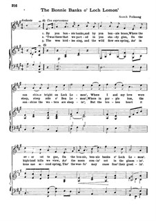 The Bonnie Banks o' Loch Lomon': For mixed choir and piano by folklore
